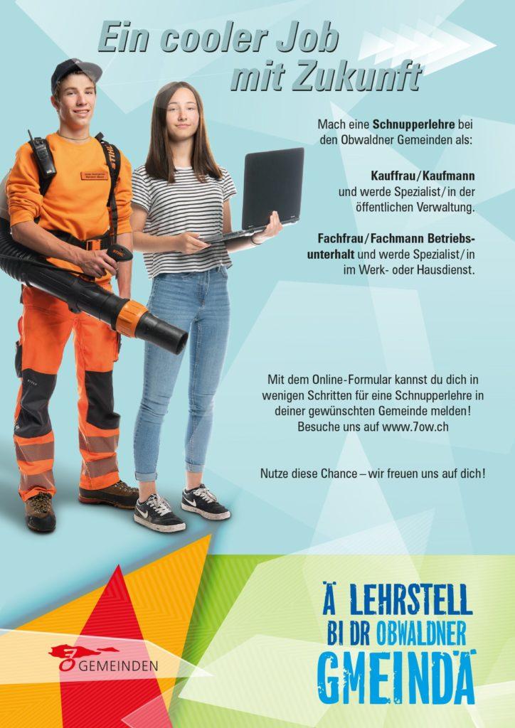 Schnupperlehre Kauffrau Kaufmann Fachmann Fachfrau Betriebsunterhalt